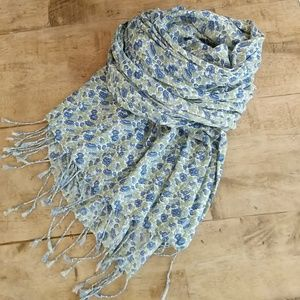Old Navy Blue Floral Scarf